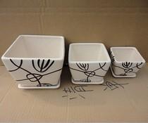 陶瓷花盆 方形白色带盆垫 带黑色条纹 放电脑旁的可爱花盆 价格:12.80