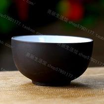 黑紫砂杯品茗杯茶杯陶瓷玻璃木鱼石汝窑功夫茶具泡带盖过滤花茶 价格:6.80