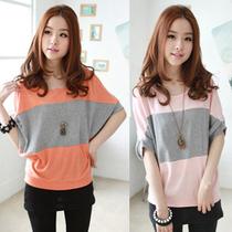 2013夏季新款拼接短袖女装 韩版潮流宽松T恤显瘦蝙蝠打底衫女大码 价格:19.90