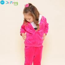 博士蛙Dr.Frog 2013秋装新款童装小女童连帽衫套装外套+长裤 价格:79.00