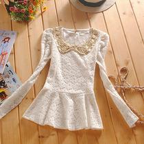 2013秋装新款 韩版泡泡袖娃娃领修身长袖蕾丝打底衫收腰裙边上衣 价格:79.00