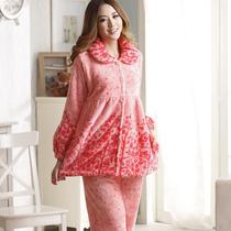 大码睡衣秋冬季珊瑚绒睡衣女款套装法兰绒加厚家居服特价清仓包邮 价格:59.00