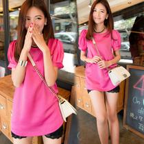 2013夏装新款女装 名媛风娃娃衫中长款泡泡袖宽松T恤女短袖上衣 价格:55.00