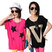 包邮 2013夏装新款胖MM休闲蝙蝠衫 宽松韩版莫代尔短袖T恤女学生 价格:19.80