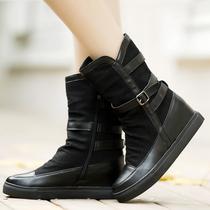 2013春秋新款短靴 女靴平底骑士靴平跟女鞋内增高皮带扣裸靴潮 价格:189.00