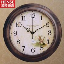 汉时钟表 实木挂钟客厅欧式田园静音挂表 时尚创意石英钟包邮HW77 价格:98.00
