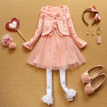 秋款童装女童2013儿童套装 女童小西服连衣裙两件套 蕾丝裙装 价格:139.00