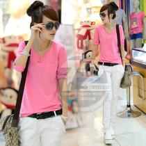 七十二变[SY7731]2013秋装新款女韩版V领七分袖套头打底衫T恤 价格:49.00