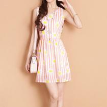 又见小夕^女装夏季2013新款 韩版修身无袖条纹印花背心雪纺连衣裙 价格:109.00