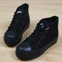包邮2013新款正品厚底松糕鞋全黑色高帮内增高休闲帆布鞋休闲女鞋 价格:55.10