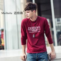 迈伯路男装秋装2013新款圆领T恤长袖男潮休闲纯色衣服男士长款T恤 价格:49.00