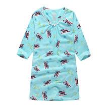 新。「2件包邮」大码睡衣长袖春秋纯棉外贸睡裙加肥女士家居服f22 价格:29.00