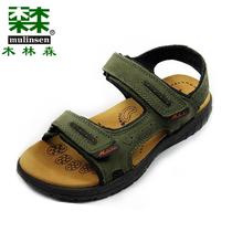 木林森【专柜正品】夏季休闲鞋 沙滩牛皮凉鞋SM1230211军绿色男鞋 价格:298.00