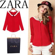 zara代购女装撞色欧美红色长袖雪纺衫女 一字领露肩衬衫型上衣秋 价格:128.00