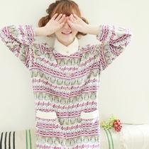 秋冬少女日系甜美清新柔软摇粒绒高领长袖睡袍公主睡裙保暖家居服 价格:79.00