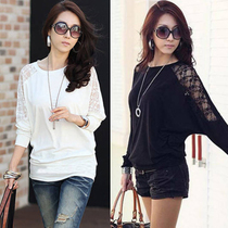 女t恤长袖2013秋装新款韩版潮流女装蕾丝上衣蝙蝠袖宽松打底衫 价格:35.00