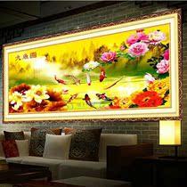 十字绣最新款客厅大幅 花开富贵金色荷花九鱼图 精准印花正品包邮 价格:185.00
