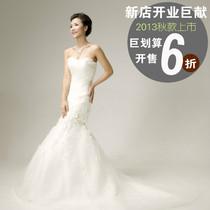 特价苏州婚纱2013新款�{胸花朵鱼尾优雅拖尾新娘礼服出口工艺 价格:468.00
