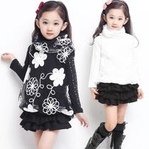 开心童话女童t恤秋 淑女时尚蕾丝绣花儿童长袖T恤 两件装G4 1028 价格:45.00