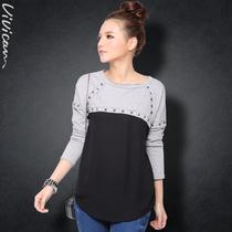 薇可2013春装新款 欧美风拼接雪纺宽松铆钉小卫衣棉长袖T恤133036 价格:129.00