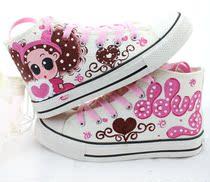 牛牛手绘女童装鞋 儿童球鞋 牛筋底小孩姑娘鞋 亲子中帮帆布潮鞋 价格:66.00