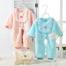婴儿连体衣秋冬装天鹅绒哈衣 宝宝服装 新生儿衣服用品爬服 0-1岁 价格:45.80