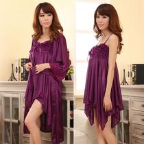 冰丝睡衣 两件套 短袖 春季夏天 蕾丝 睡袍吊带 浴袍女 性感睡衣 价格:43.20