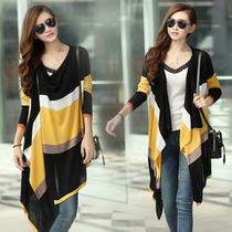 秋装新款韩版女装外套 修身不规则中长款宽松女款针织衫 女 开衫 价格:69.00