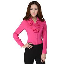 蓝漾 通勤OL百搭纯色女装职业装衬衫 翻领甜美长袖修身气质衬衣 价格:65.00