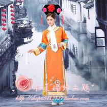 2013新款古装绣花格格连体装表演服装红色玫红天蓝色桔色粉粉特价 价格:130.00