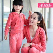 亲子时光亲子装秋装2013新款母女运动套装高品天鹅绒套装童装3色 价格:99.79