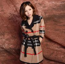 错过再等一千年!女装英伦风格纹修身双排扣中长款羊毛外套大衣 价格:325.08