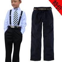 儿童黑色西装裤全棉男童礼服表演长裤中大童春秋款学生演出黑裤子 价格:46.00