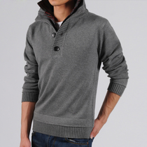 韩版秋冬装假两件线衫 休闲套头薄毛衣 男士免烫翻领针织衫线衣潮 价格:99.00