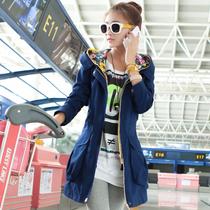 2013女秋季风衣新款韩版印花长袖连帽休闲风衣外套淑女中长款外套 价格:206.00