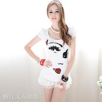 T恤 女粉红大布娃娃白色修身紧身大眼睛印花亮片泡泡短袖女装T恤 价格:80.00