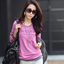 2013秋装 新款韩版女装长袖打底衫休闲修身加大码胖mm女式T恤圆领 价格:49.00