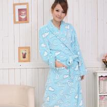 特价 秋冬浴袍 女款珊瑚绒睡袍 加厚中长款女士睡衣甜美家居 价格:49.00