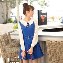 2013春夏女装新款 背心裙子蓝色纯色修身无袖连衣裙 送腰带13107 价格:99.00