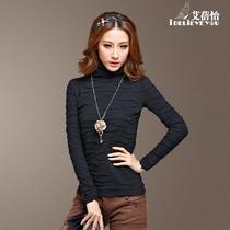 艾蓓怡 2013秋装新款 时尚高领修身 t恤女长袖 保暖纯色打底衫 价格:49.50
