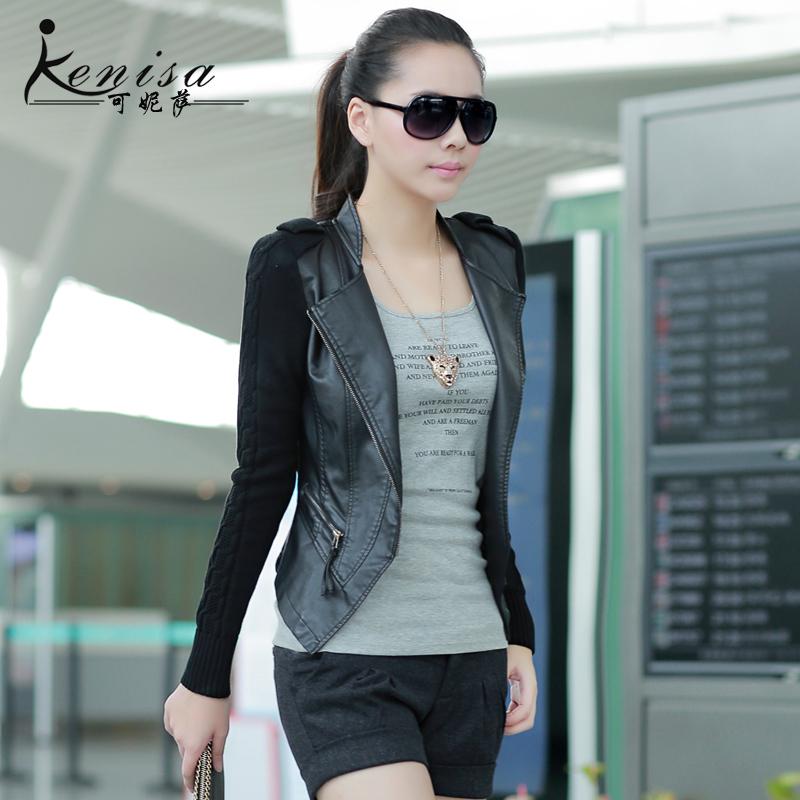 可妮萨2013秋装新款韩版针织拼接皮尤小外套 短款修身女式PU皮衣 价格:189.00