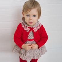 davebella春装2014女婴儿小披肩小开衫 女宝宝纯棉外出披风DB400 价格:129.00