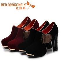 红蜻蜓正品女鞋2013秋款磨砂真皮女单皮鞋23FB30051黑23FB30052 价格:339.00