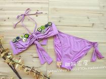 意大利LA PERLA性感超薄绑颈绑绳亮片女三点式分体比基尼泳衣套装 价格:68.00