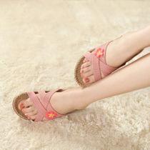 新款正品金硕 高端夏季亚麻拖鞋 家居拖鞋室内木地板居家凉拖男女 价格:23.92