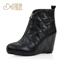 熙漫2013新款欧美真皮坡跟短靴女秋季黑色单靴防水台罗马厚底短靴 价格:328.00