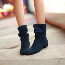 2013秋冬季新款韩版短靴女靴子方跟马丁靴短筒两穿纯色单靴女鞋子 价格:49.80
