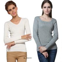 秋冬新款韩版女V领紧身羊绒衫修身针织羊毛衫打底衫短款套头毛衣 价格:65.00