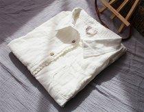 百搭纯白色衬衫女 中袖双棉纱衬衣 拼接镂空钩花边小翻领森系清新 价格:78.00
