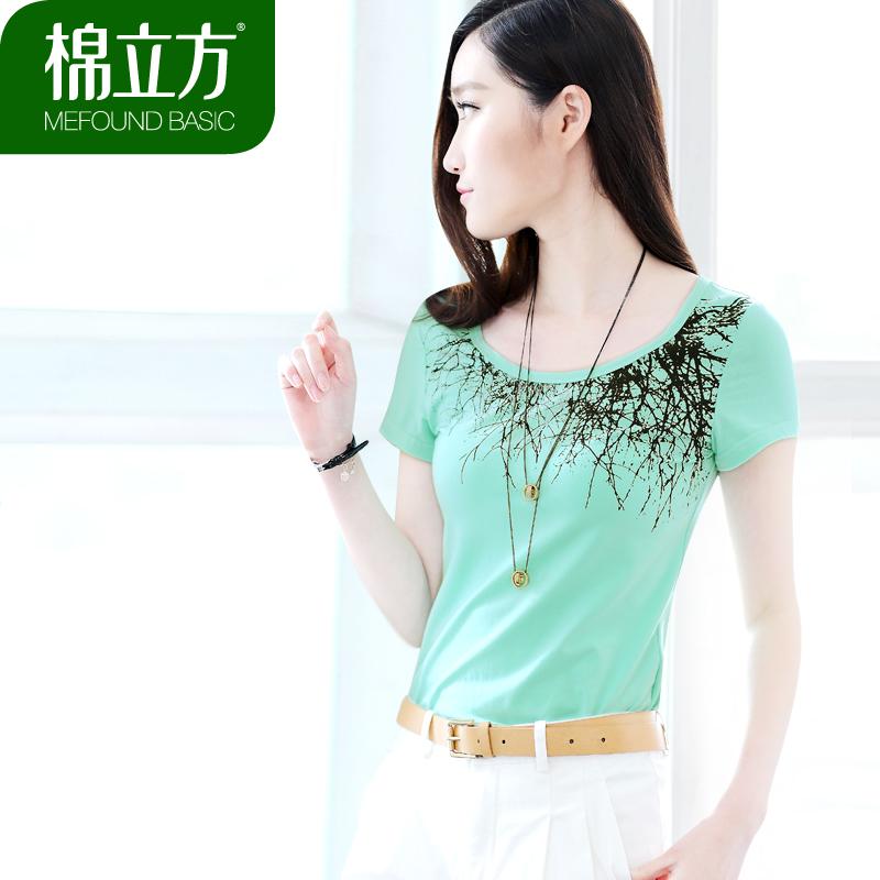 棉立方2013夏装新款 韩版大码女装圆领修身纯色棉打底衫T恤女短袖 价格:119.00